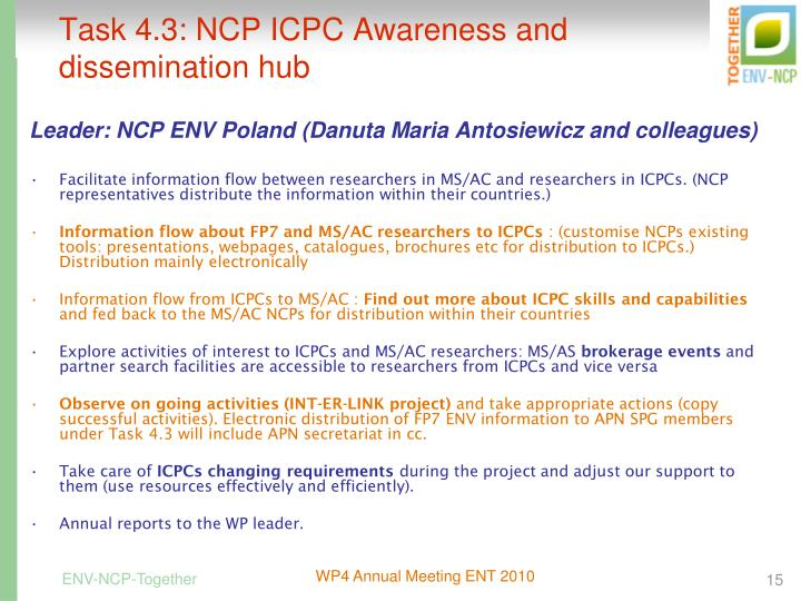 Task 4.3: NCP ICPC Awareness and