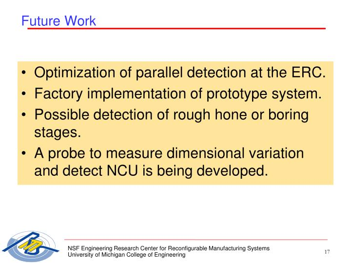 Optimization of parallel detection at the ERC.
