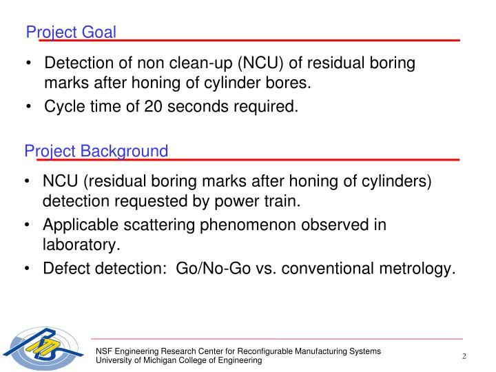 NCU (residual boring marks after honing of cylinders) detection requested by power train.