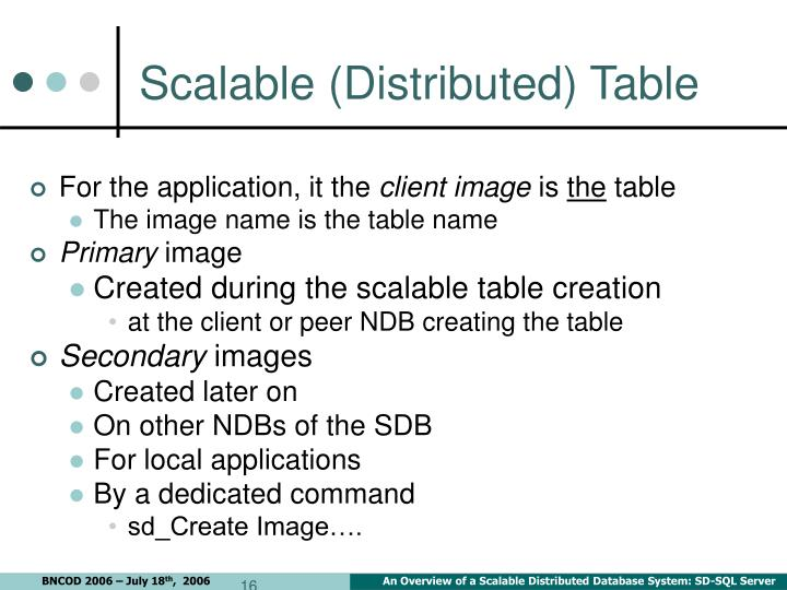 Scalable (Distributed) Table