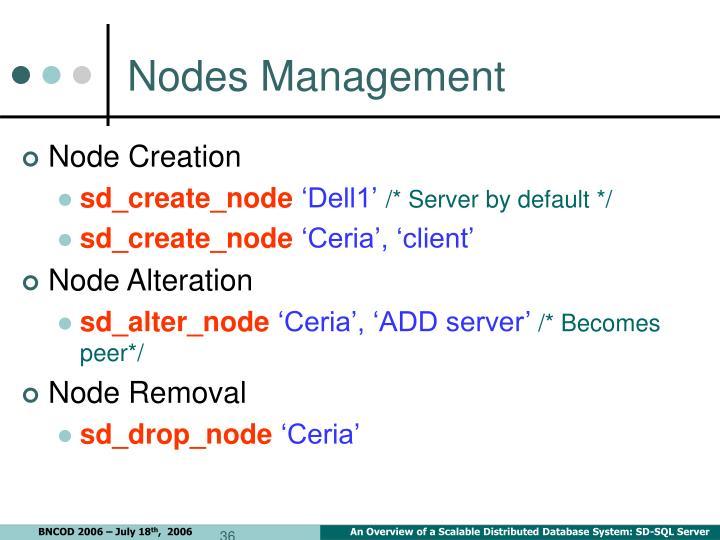 Nodes Management