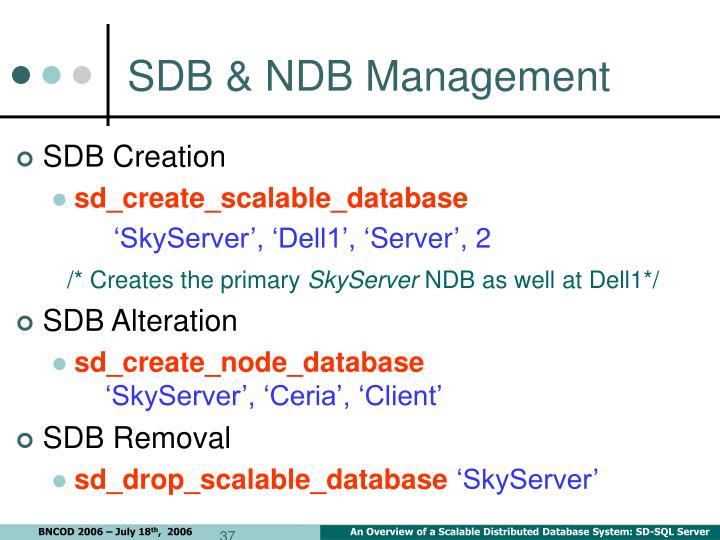 SDB & NDB Management