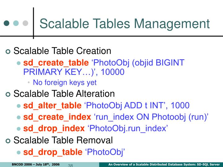 Scalable Tables Management