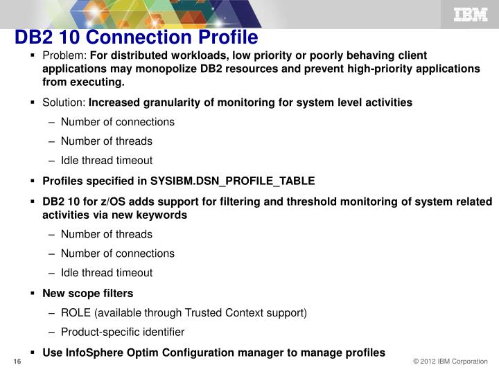 DB2 10 Connection Profile