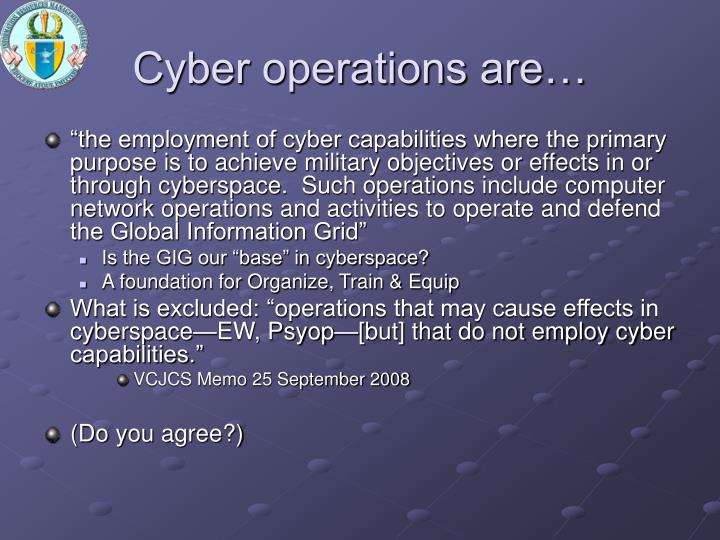 Cyber operations are…