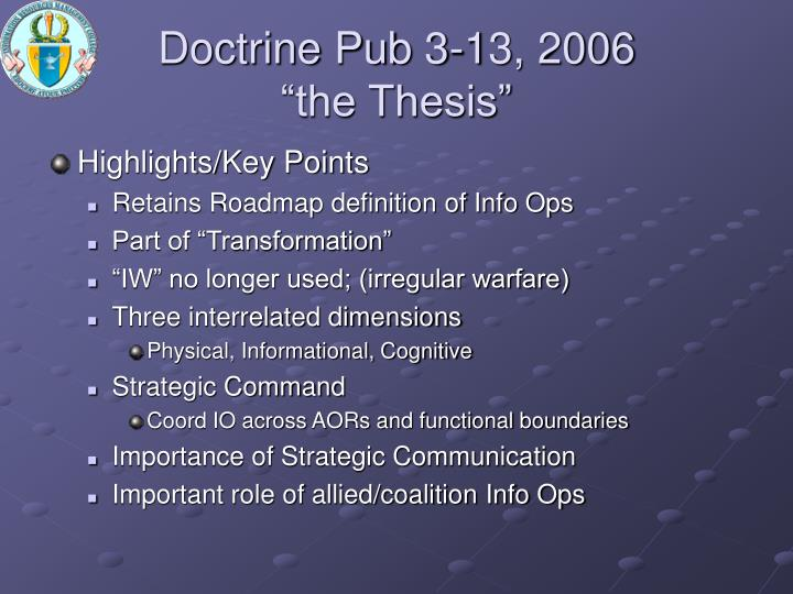 Doctrine Pub 3-13, 2006