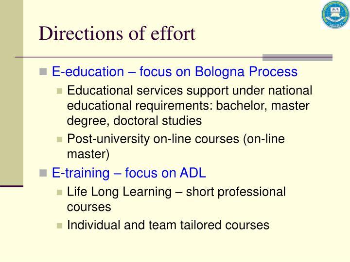Directions of effort