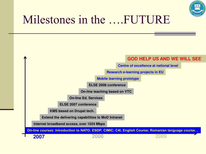 Milestones in the ….FUTURE