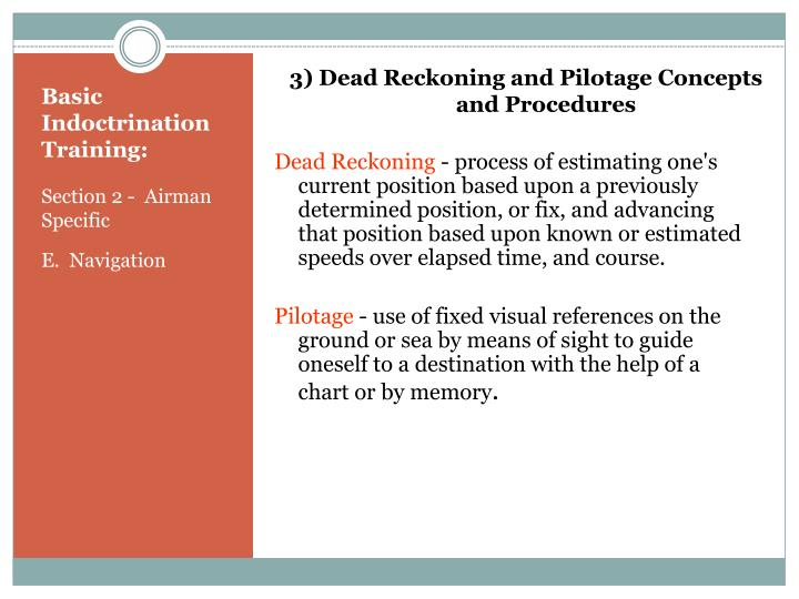 3) Dead Reckoning and Pilotage Concepts and Procedures