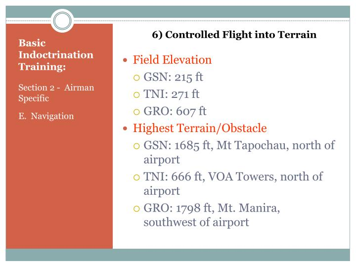 6) Controlled Flight into Terrain
