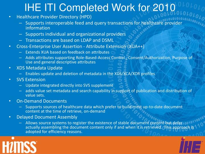 IHE ITI Completed Work for 2010