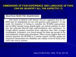 dimensions of pain experience and language of pain can we quantify all the aspects 7