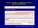 visual vs verbal vs numerical scales are they equivalent