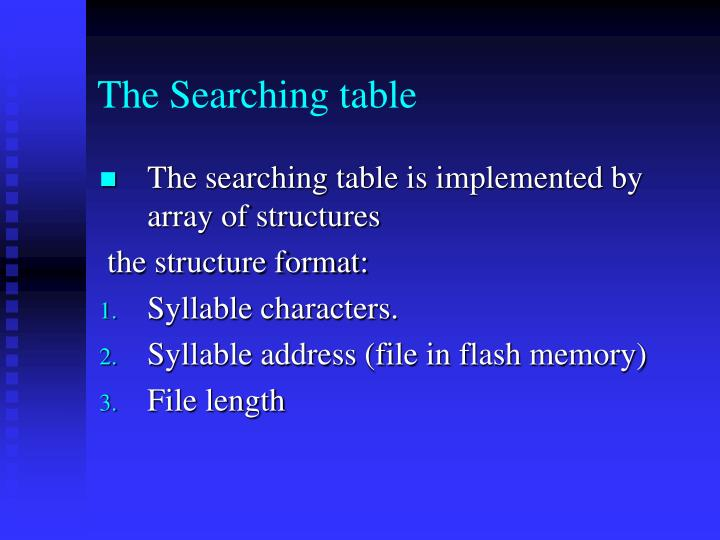 The Searching table