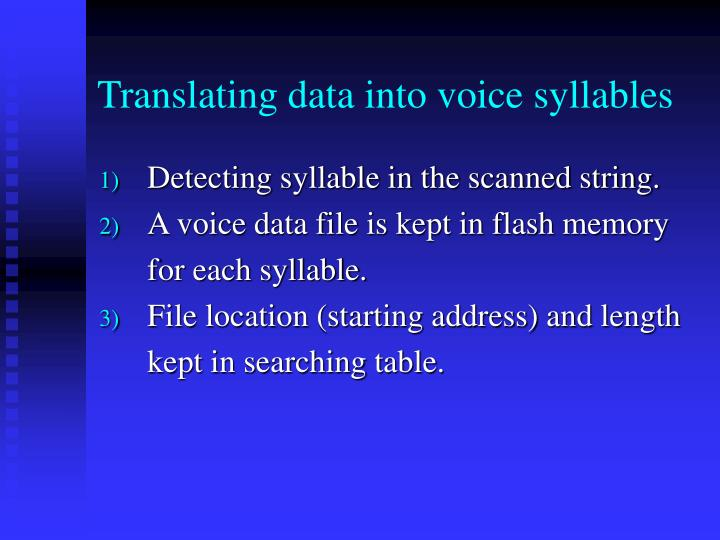 Translating data into voice syllables