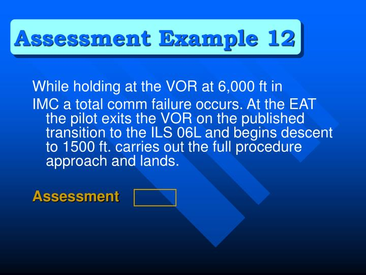 Assessment Example 12