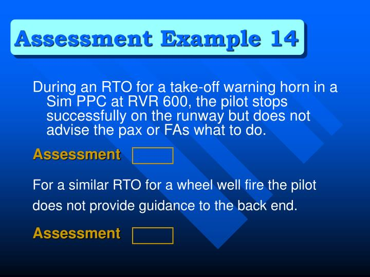 Assessment Example 14