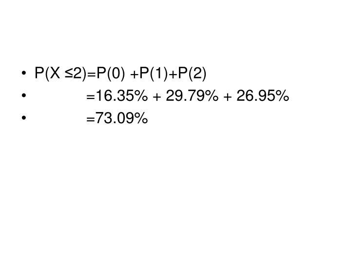 P(X ≤2)=P(0) +P(1)+P(2)