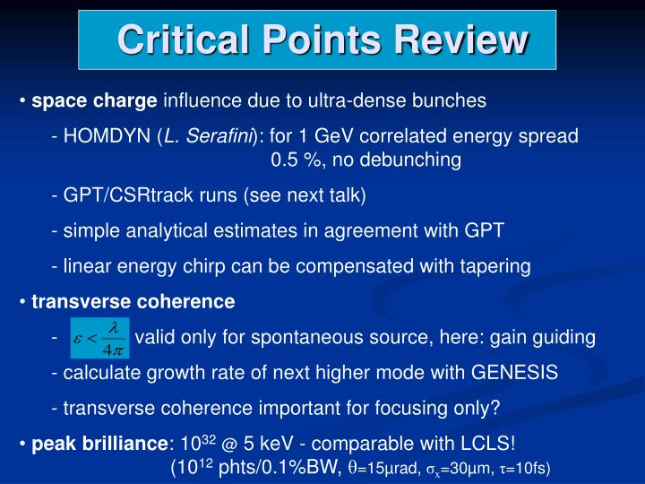 Critical Points Review