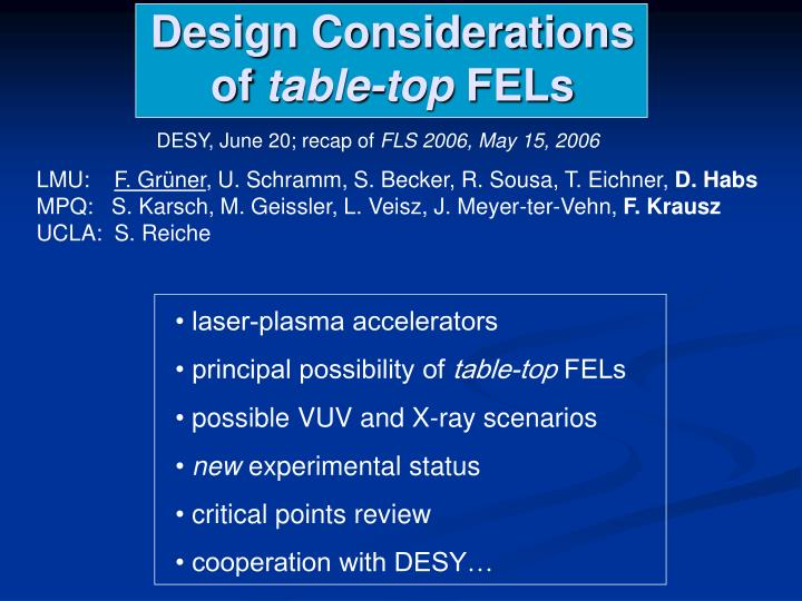Design Considerations of