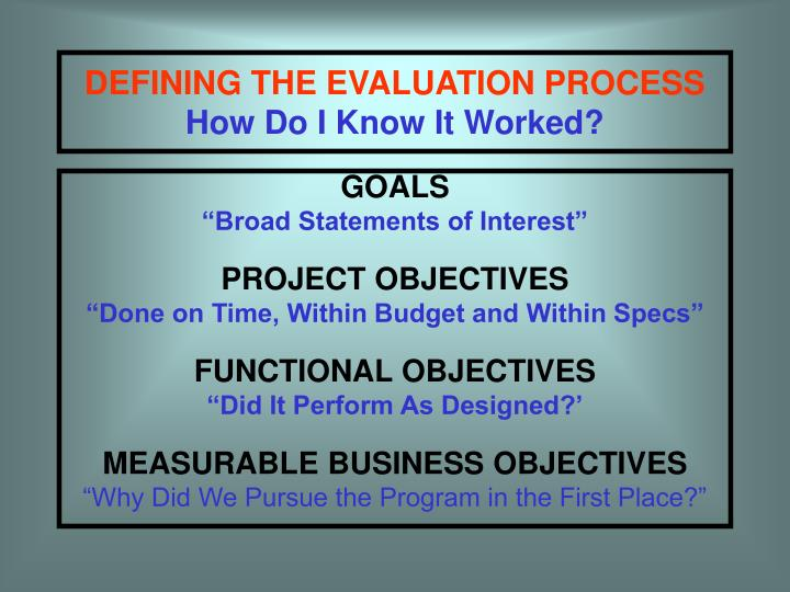 DEFINING THE EVALUATION PROCESS