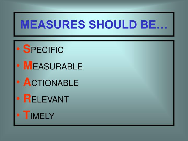MEASURES SHOULD BE…
