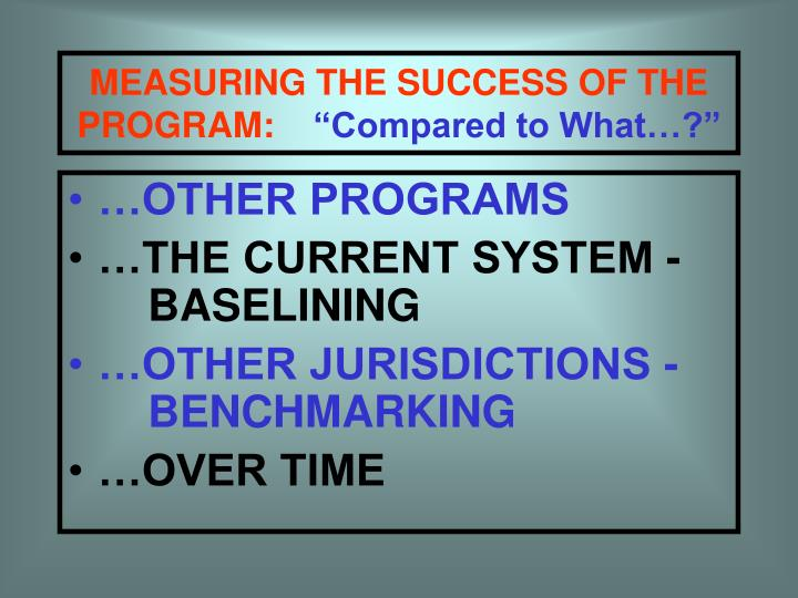 MEASURING THE SUCCESS OF THE
