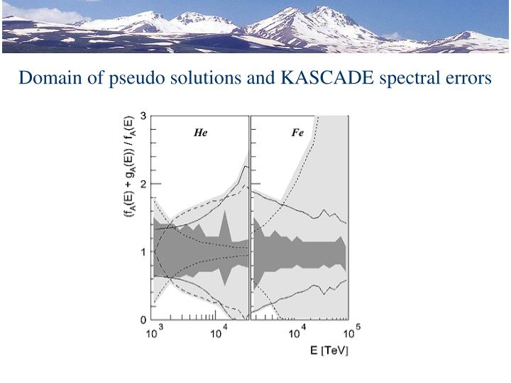 Domain of pseudo solutions and KASCADE spectral errors