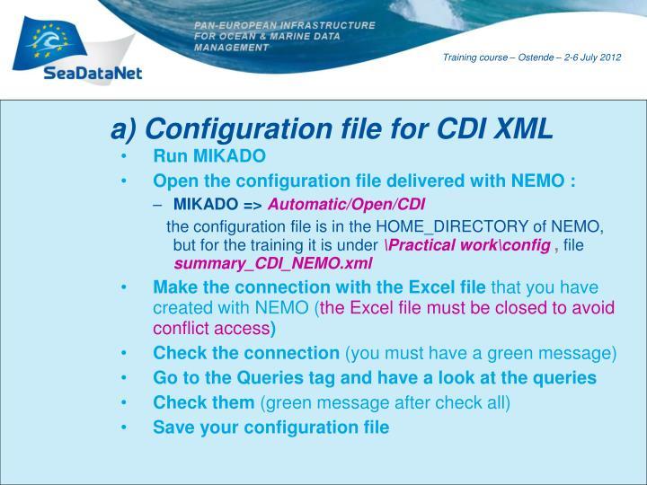 a) Configuration file for CDI XML