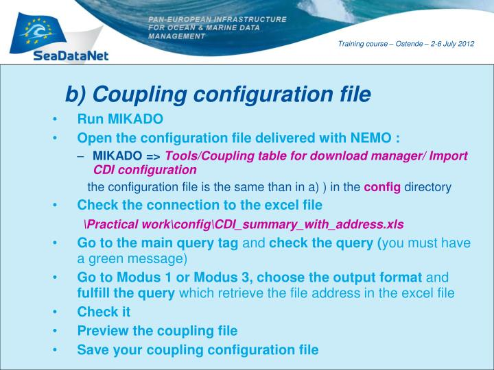 b) Coupling configuration file