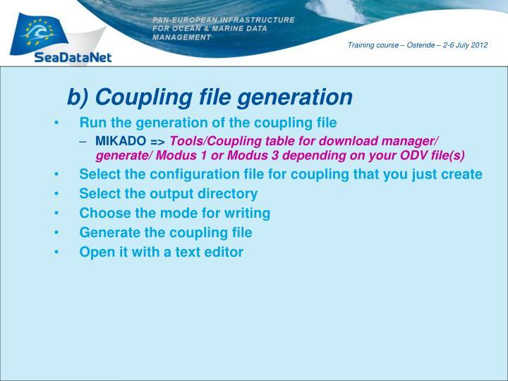 b) Coupling file generation