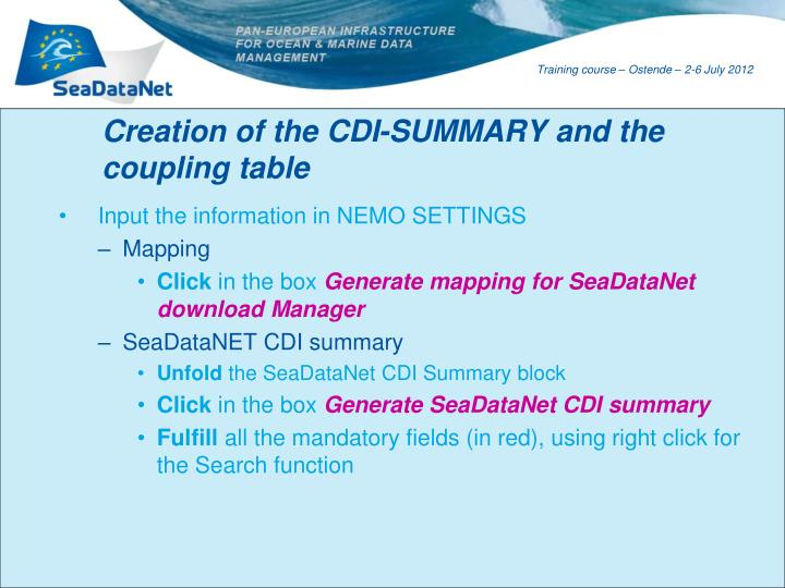 Creation of the CDI-SUMMARY and the coupling table