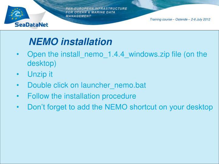 NEMO installation