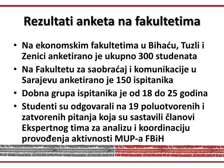 Rezultati anketa na fakultetima