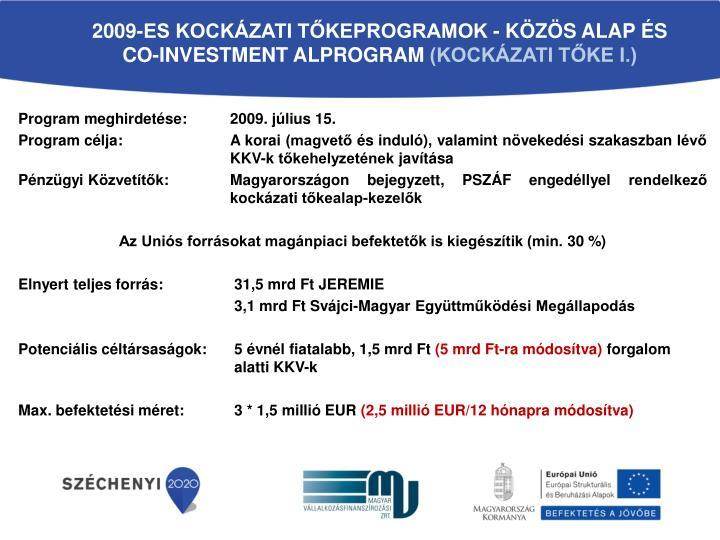 2009-ES KOCKÁZATI TŐKEPROGRAMOK - KÖZÖS ALAP ÉS CO-INVESTMENT ALPROGRAM