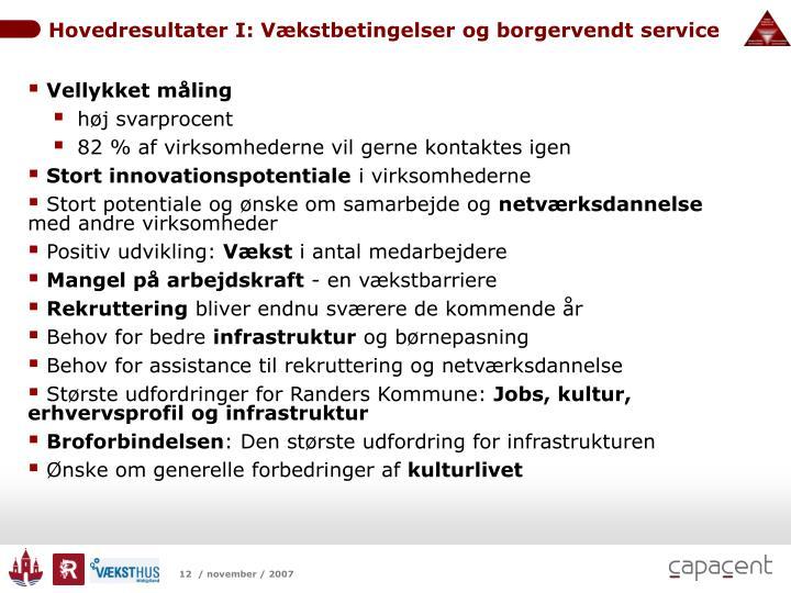 Hovedresultater I: Vækstbetingelser og borgervendt service