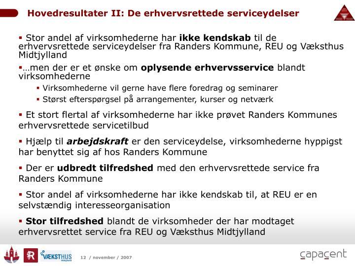 Hovedresultater II: De erhvervsrettede serviceydelser