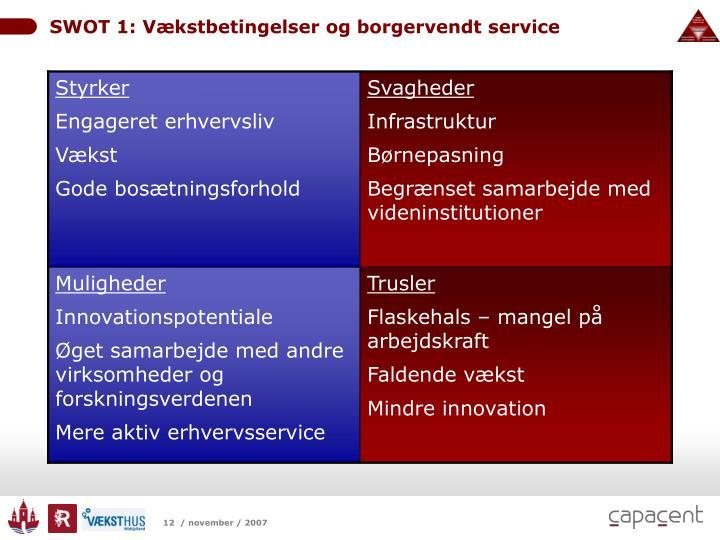 SWOT 1: Vækstbetingelser og borgervendt service