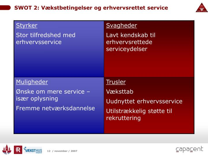 SWOT 2: Vækstbetingelser og erhvervsrettet service