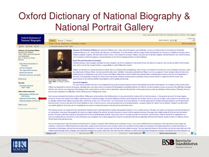 Oxford Dictionary of National Biography & National Portrait Gallery