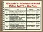 symposia on renaissance model tws at aacte in new york
