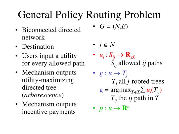 General policy routing problem