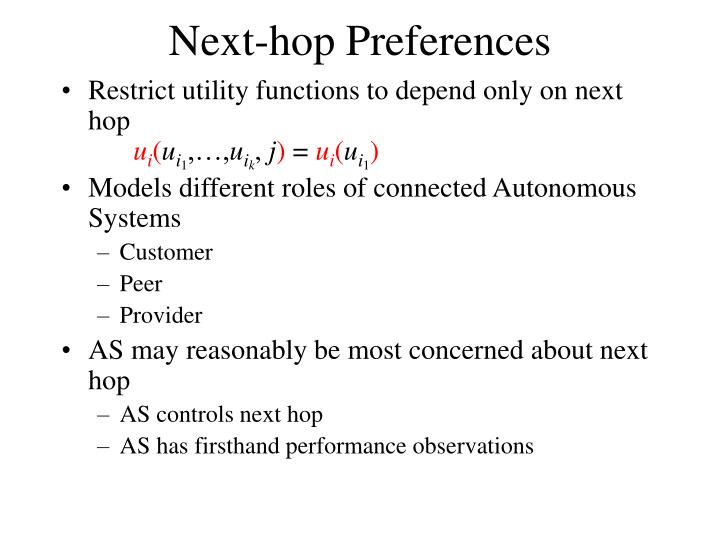 Next-hop Preferences