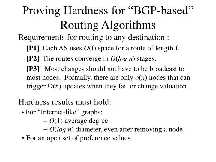 "Proving Hardness for ""BGP-based"""