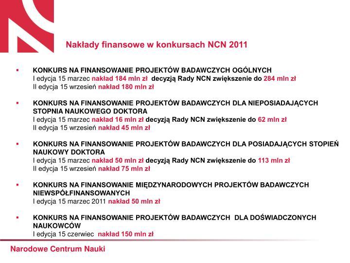 Nakłady finansowe w konkursach NCN 2011