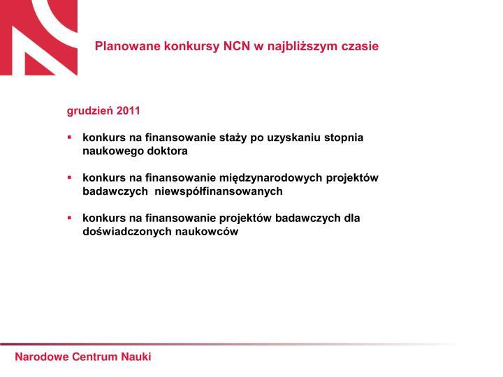 Planowane konkursy NCN w najbliższym czasie