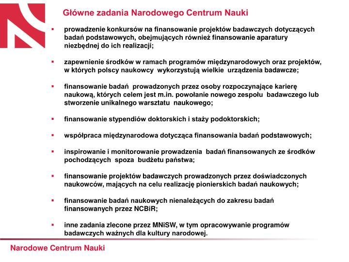 Główne zadania Narodowego Centrum Nauki