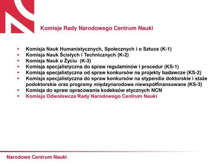 Komisje Rady Narodowego Centrum Nauki