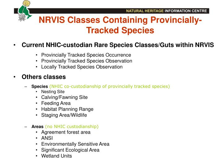 NRVIS Classes Containing Provincially-Tracked Species