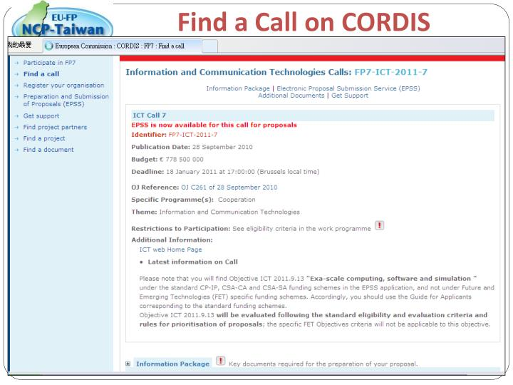 Find a Call on CORDIS